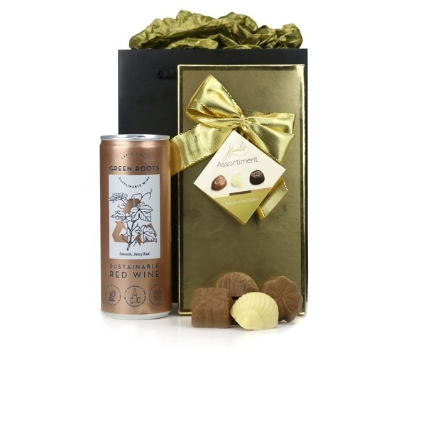 Gold wine and chocolates goody bag